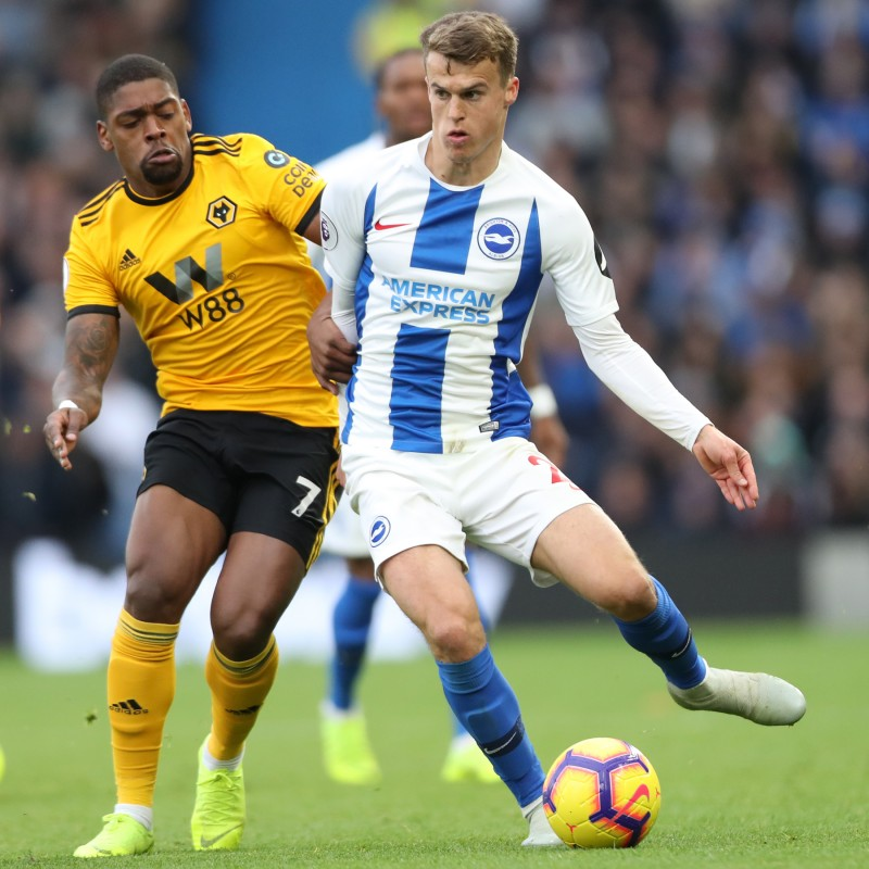 Brighton & Hove Albion Match-Issued Shirt Signed by Solly March