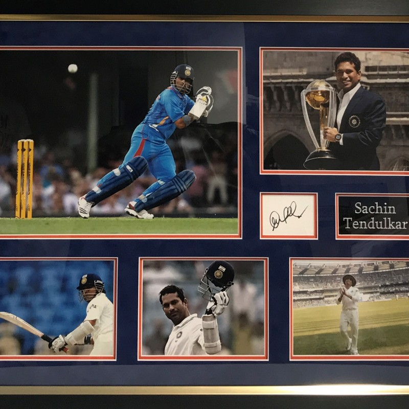 Signed Sachin Tendulkar Photo Display