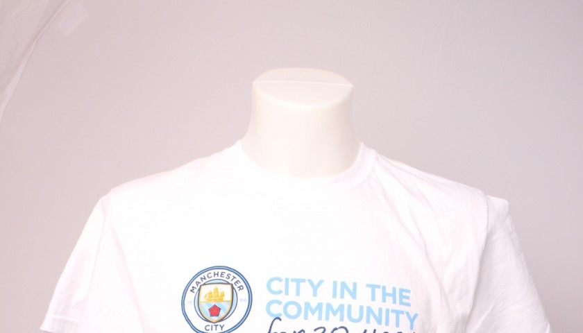 Aguero Worn and Signed Manchester City Warm Up Tee