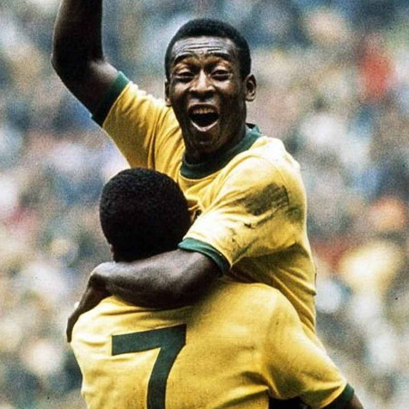 Pelè Signed Trophy and Photo Display