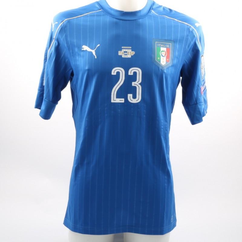Maglia Belotti, preparata / indossata Italia-Spagna qualificazioni Mondiali 2018