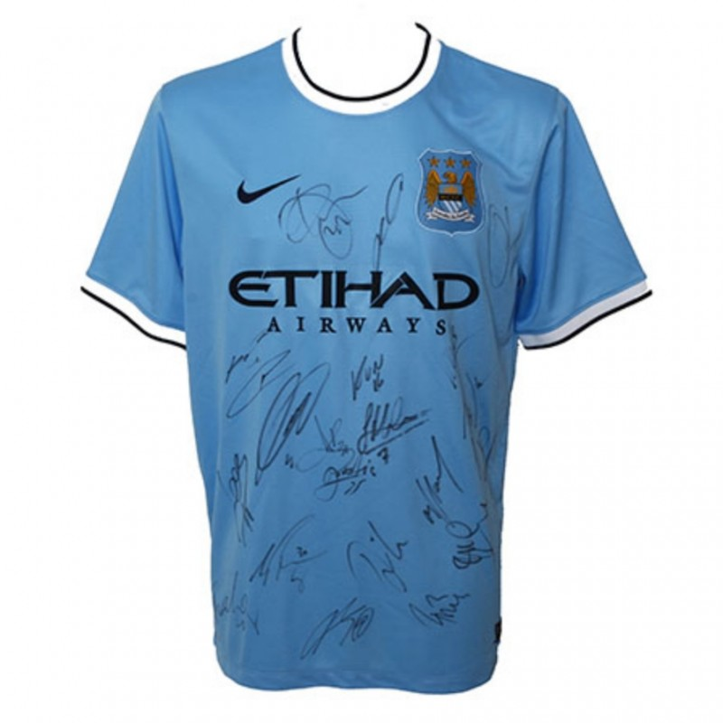 Official Manchester City FC Team Signed Home Shirt
