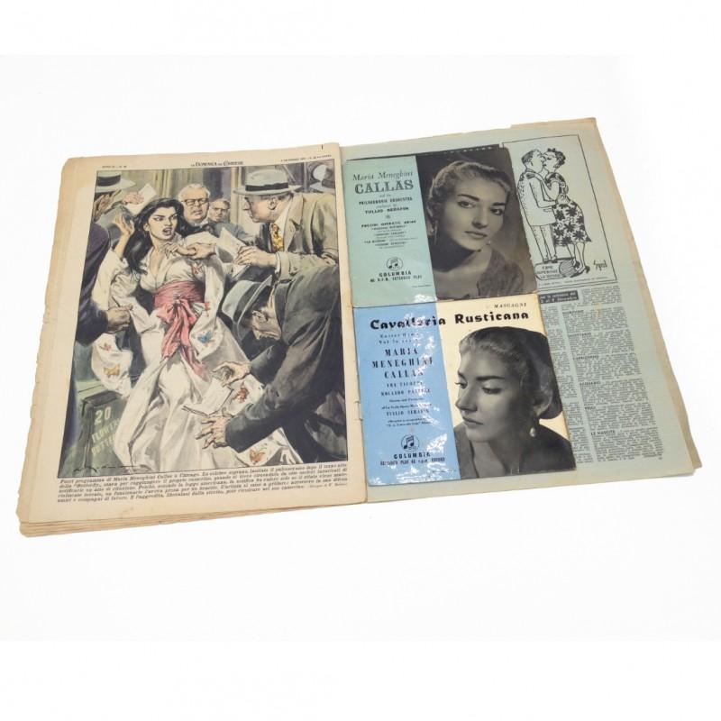 Two Maria Meneghini Callas Vinyls + Historical Newspaper