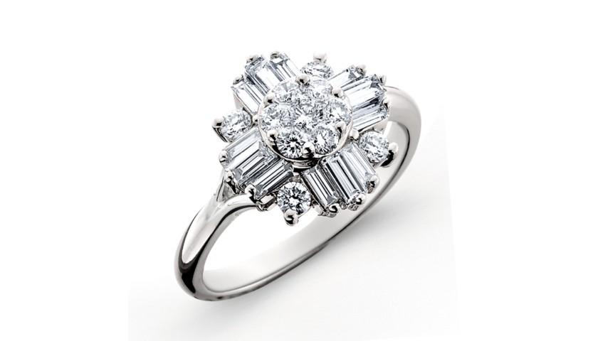 14KT White Gold Baguette and Round Brilliant Diamond Ring