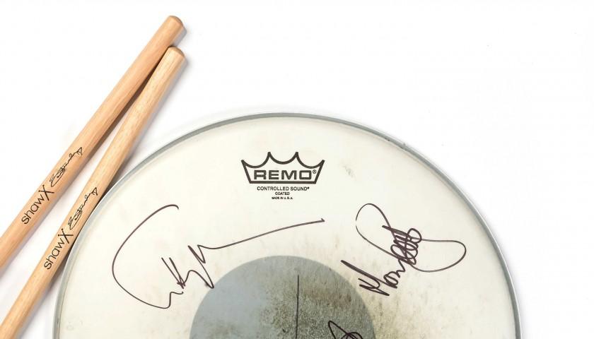 Marillion signed box set, drumskin and sticks - limited edition