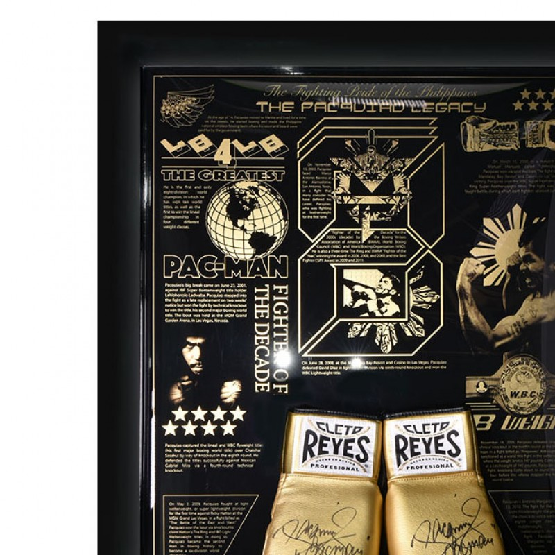 Signed Manny Pacquiao Cleto Reyes Gold Boxing Glove Legacy Display - Limited Edition