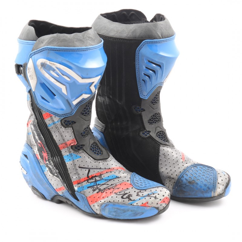 8e37eeac569 Racing Boots Worn and Signed by Motorbike Racer Andrea Dovizioso