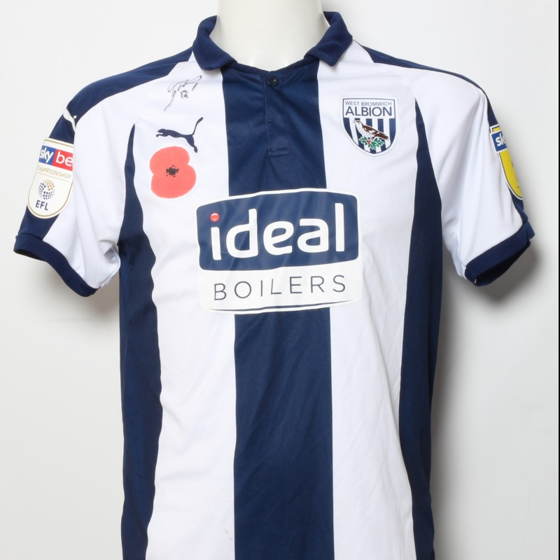 Tyrone Mears' West Bromwich Albion  Worn and Signed Home Poppy Shirt