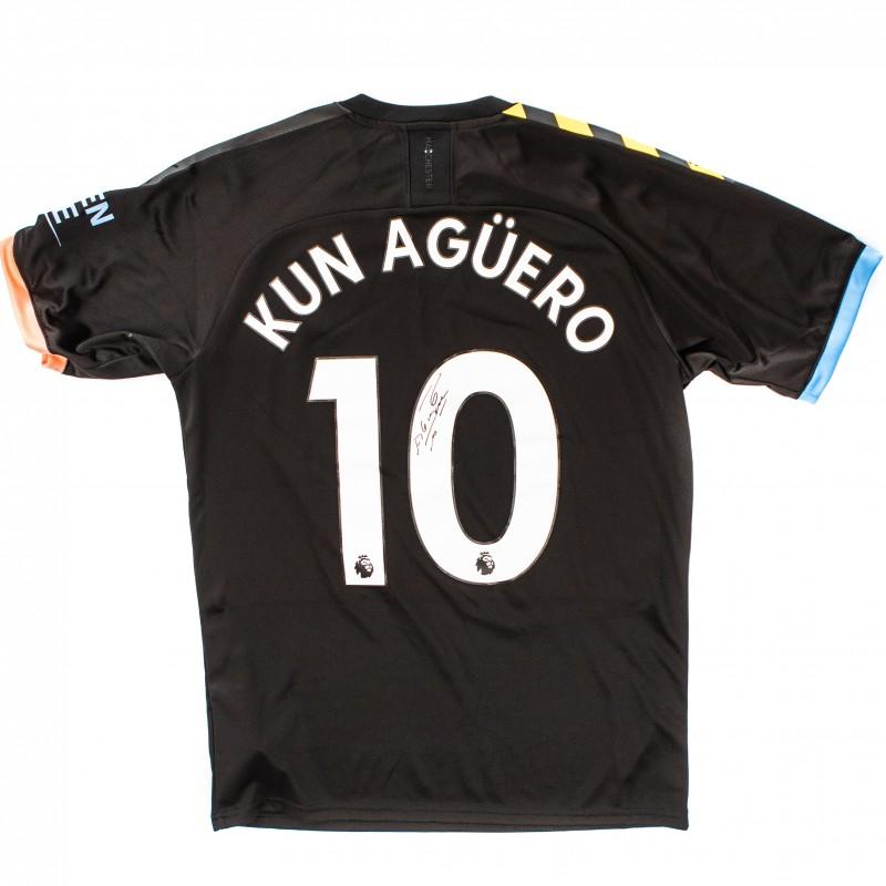 Manchester City PUMA 2019/20 Signed Sergio Aguero Away Shirt