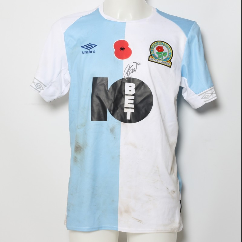 Kasey Palmer's Match-Worn Blackburn Rovers Signed Poppy Home Shirt