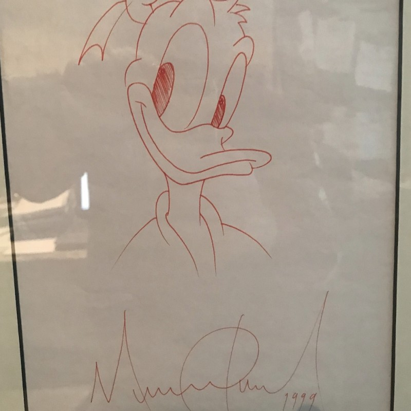Michael Jackson Original Signed Framed Sketch 1999 Donald Duck
