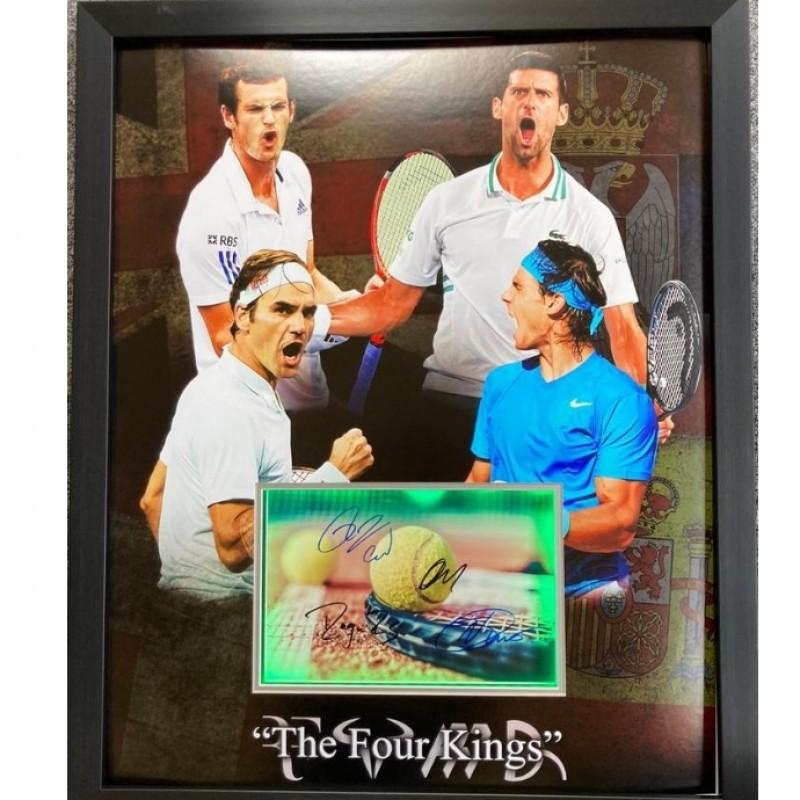 Federer, Djokovic, Nadal & Murray Signed Tennis Display
