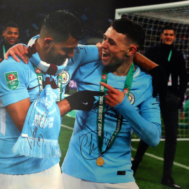 Signed Photograph of Manchester City's Sergio Aguero and Phil Foden, Caraboa Cup Final 2018