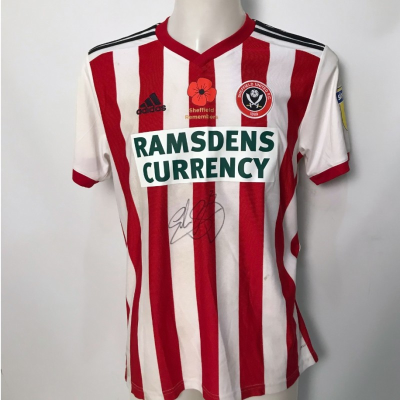 Enda Stevens' Sheffield United Worn and Signed Poppy Home Shirt
