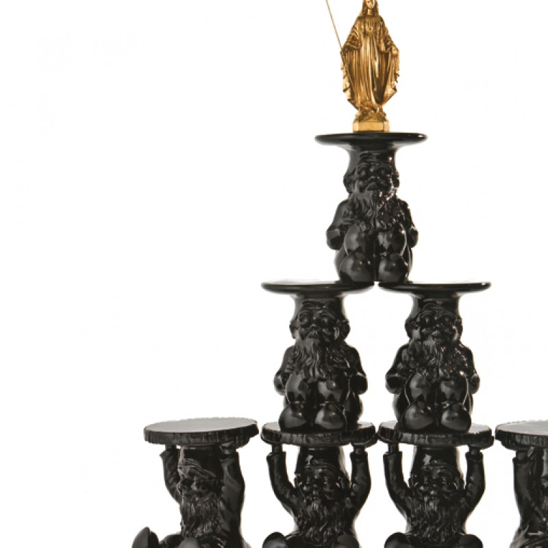 Series of seven black colored Gnomes by Francesco Bonami - Unique piece