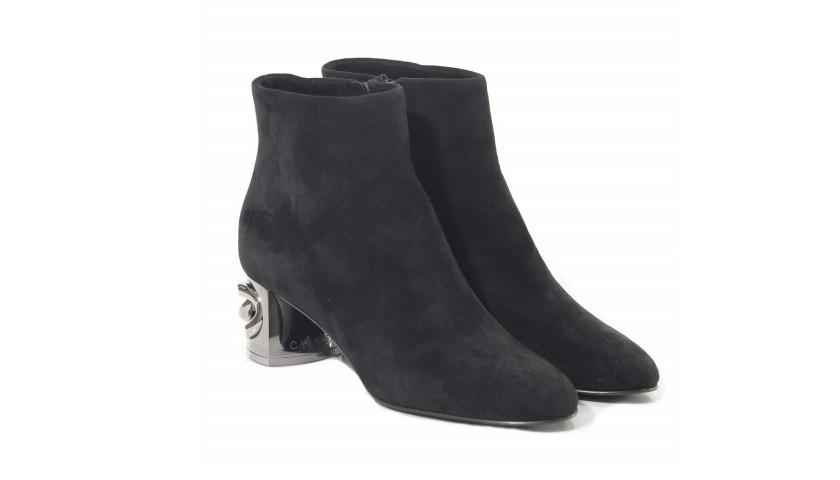 Gray Casadei Maxi Chain Boots