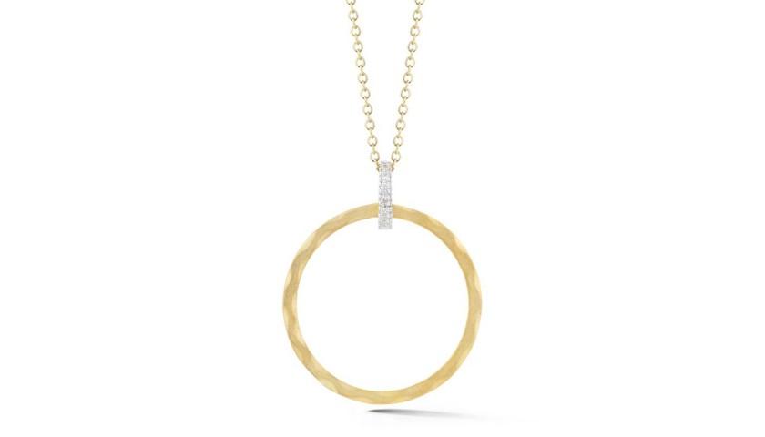 14 Karat Yellow Gold Round Shaped Pendant Necklace