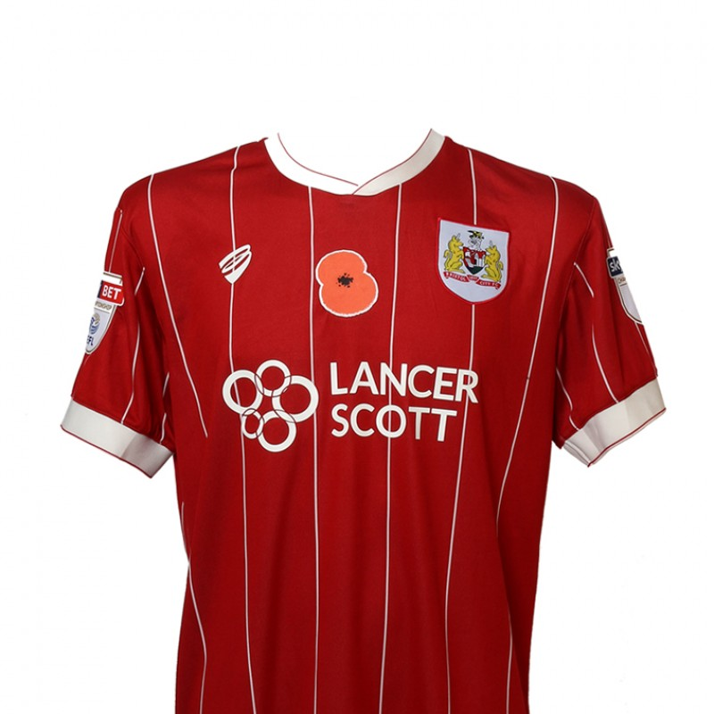Match-Worn Poppy Shirt by Bristol City FC's Tyreeq Bakinson
