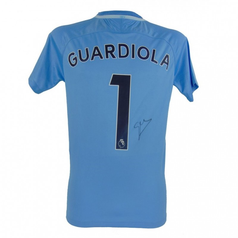 Replica 2017/18 Manchester City Shirt, Signed by Pep Guardiola