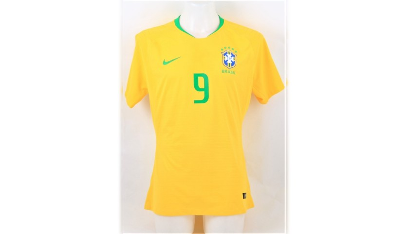 Jesus' Brazil Match-Issue/Worn and Signed Shirt, 2018