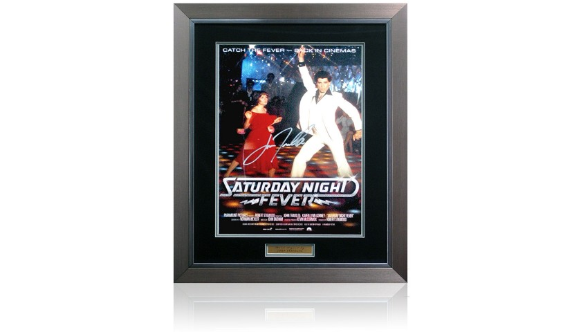 John Travolta Hand Signed 'Saturday Night Fever' Movie Poster Presentation
