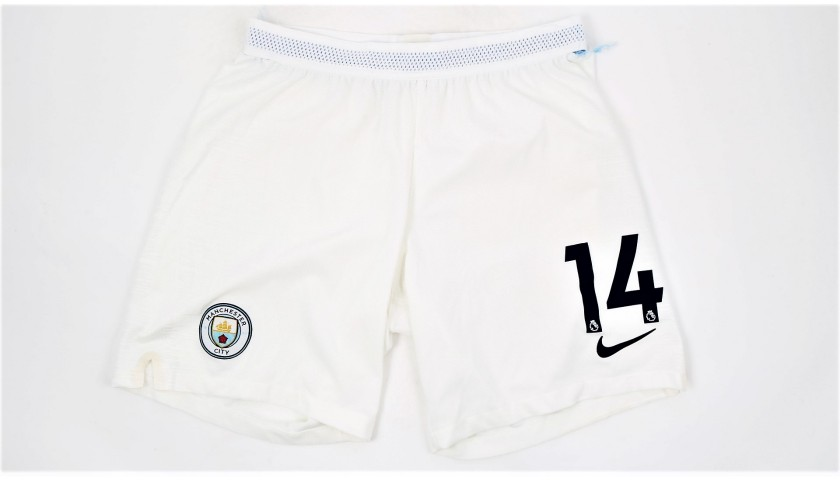 Laporte's Manchester City Match White Shorts, Premier League 2018/19