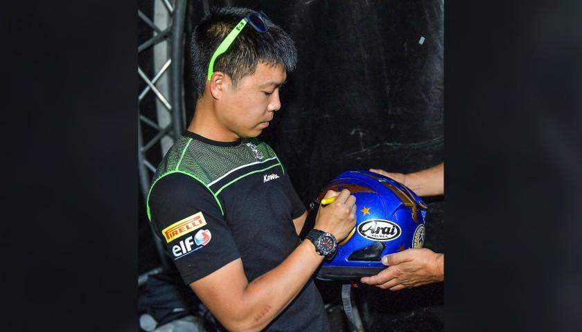 Racing Helmet Worn and Signed by Hikari Okubo at Portimao