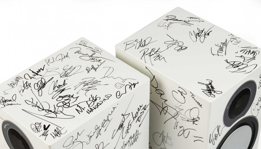 Monitor Audio Speakers signed by Rush, Black Sabbath, Thin Lizzy & more