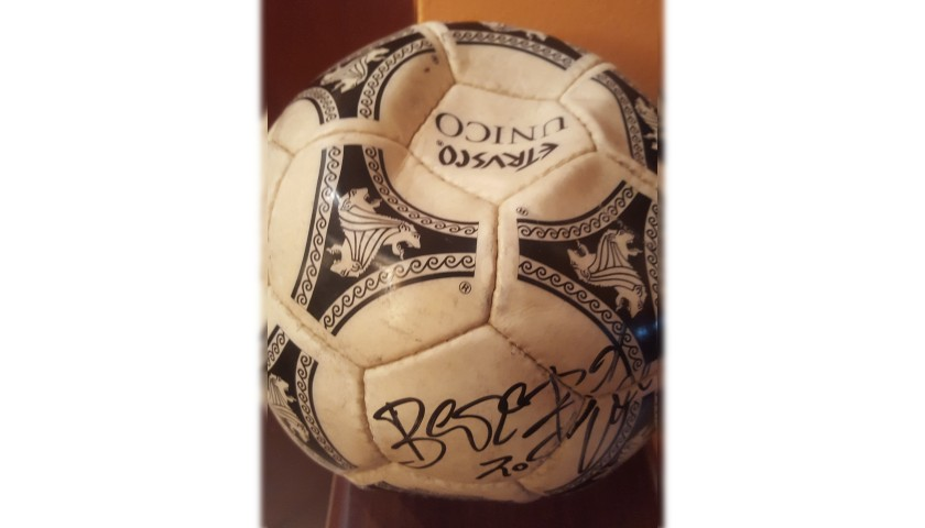 Etrusco Football Used for Italia '90 - Signed by Beppe Bergomi