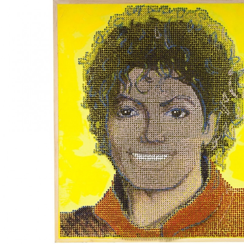 """Michael Jackson"" - acrylic on 8000 self-tapping screws - Drill Monkeys Art Duo - 80x93x5 cm"