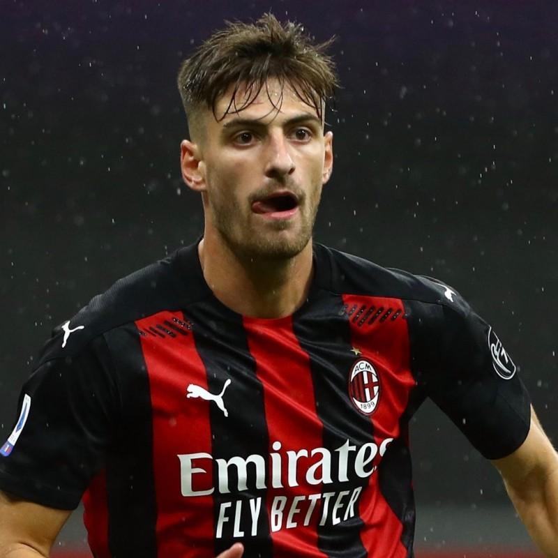 Gabbia's Worn and Signed Shirt, Milan-Inter 2021