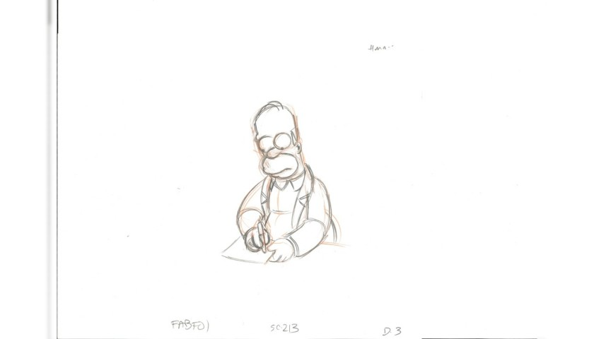 The Simpsons - Original Drawings of Homer Simpson and Ralph Wiggum #2