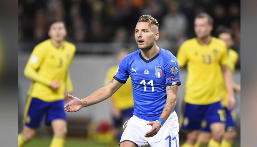 Immobile's Match-Issued Shirt, Sweden-Italy 2017