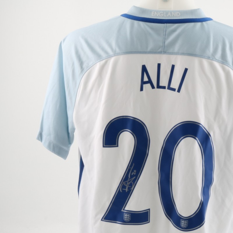 Official Replica England Home Shirt Signed by Alli
