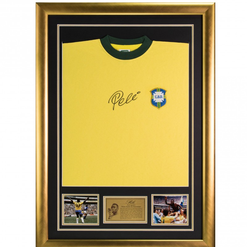 Framed Official Brazil Shirt Signed by Pelé
