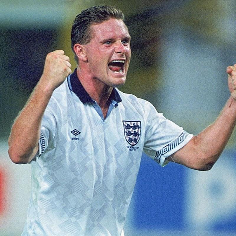 Gascoigne's England Retro Shirt, 1990 - Signed