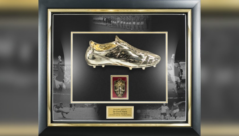 Hurst Signed Golden Boot in Dome Frame