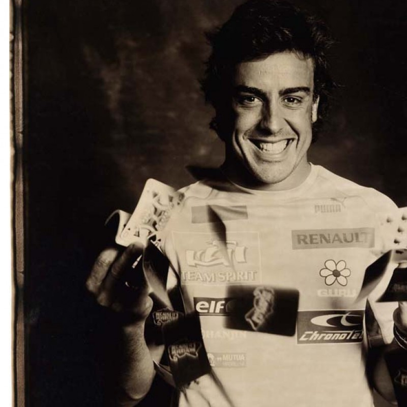F1 World Champion Fernando Alonso Signed Giant Polaroid Portrait