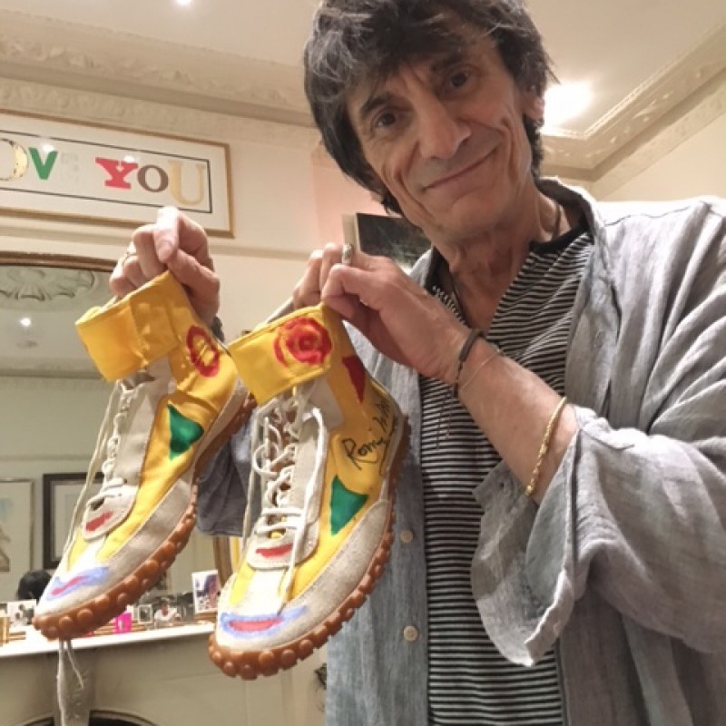 Ronnie Wood's Autographed High Top Trainers from his Personal Collection