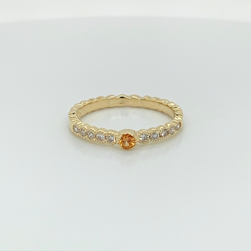 14KT Yellow Gold Stacking Band with Yellow Sapphire and Diamonds
