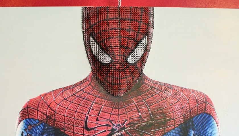 """Spiderman"" - acrylic on 3000 self-tapping screws - Drill Monkeys Art Duo - 122x81x10 cm"