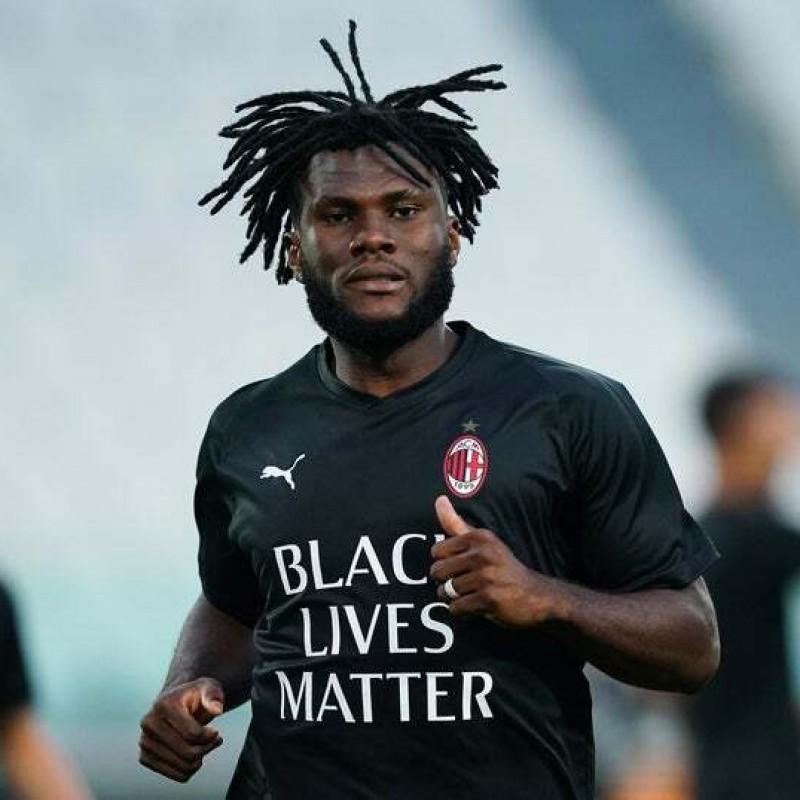 """""""Black Lives Matter"""" Training Shirt, Juventus-Milan - Signed by Kessie"""
