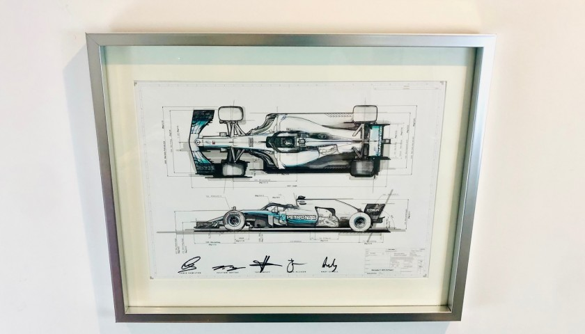 Lewis Hamilton and Mercedes Team Signed Technical Drawing