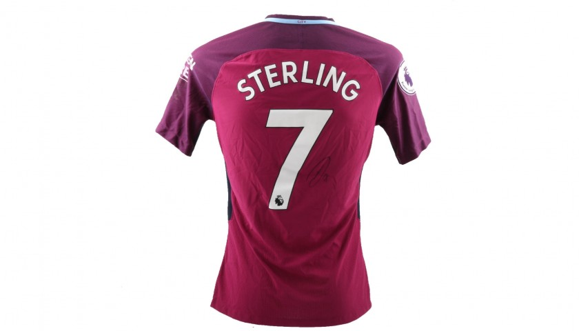 Sterling's Worn and Signed Shirt, Tottenham-Manchester City 2018