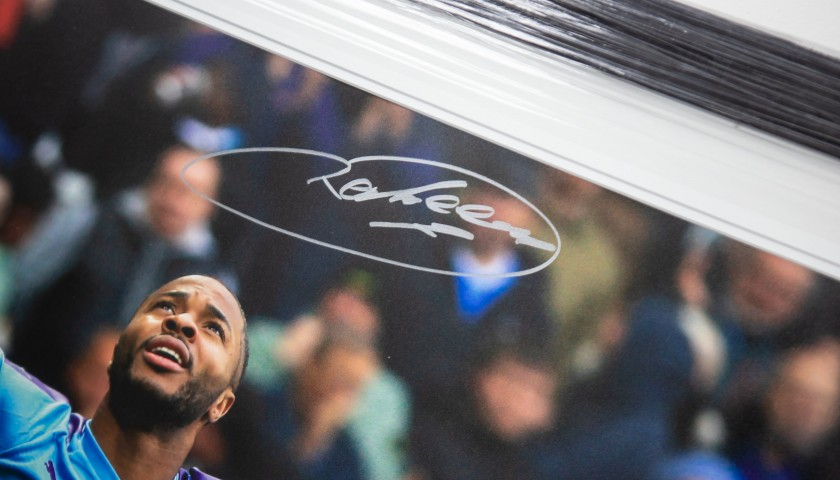 Signed and Framed Picture of Manchester City's Raheem Sterling