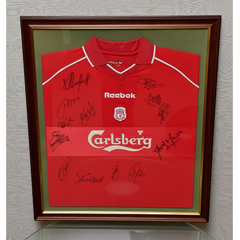 Liverpool FC 2001 Framed Shirt Signed by the Treble Winners