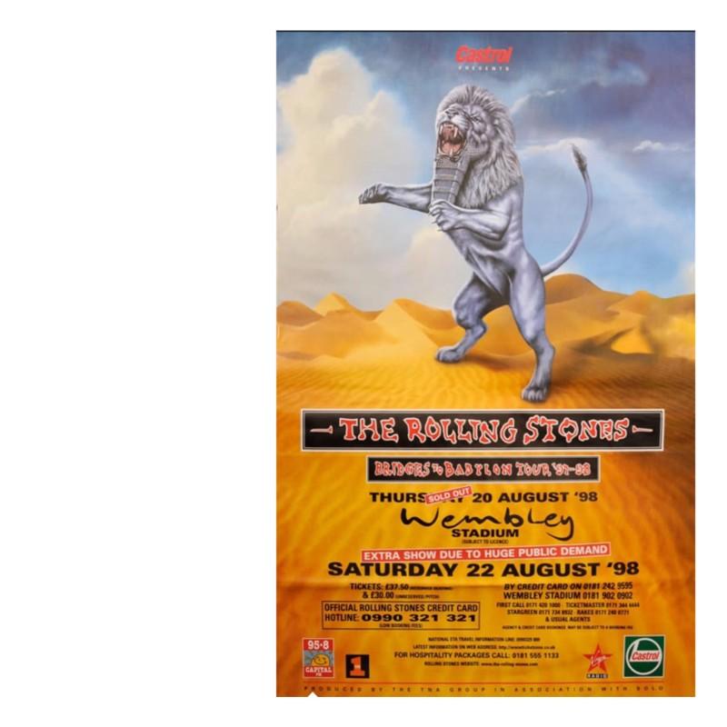 Rolling Stones Poster for Bridges to Babylon Tour, Original Litho-Printed, Framed