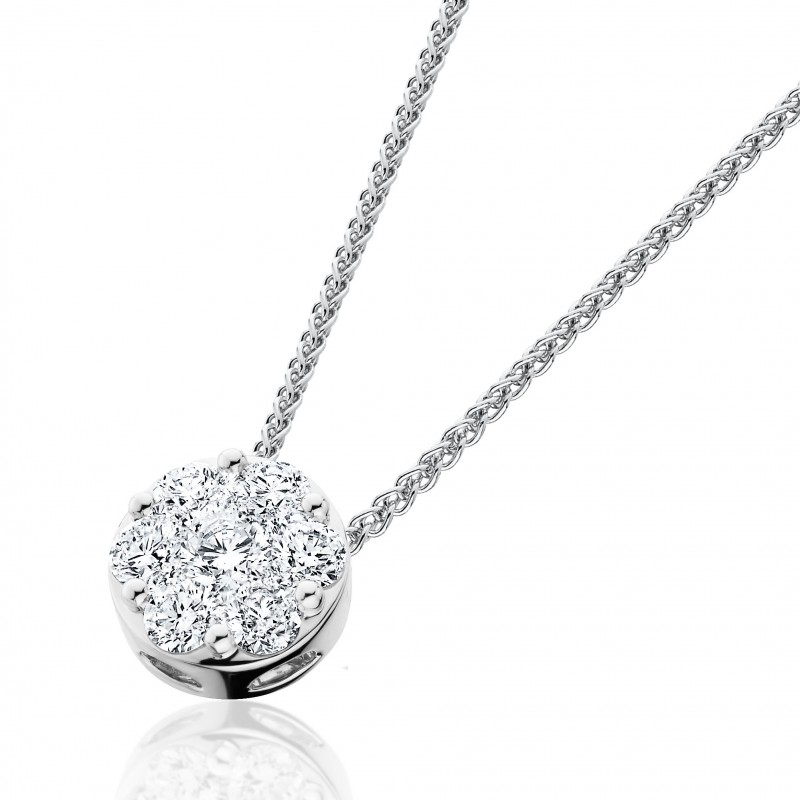 14KT White Gold Round Diamond Cluster Necklace with 1.00 carats