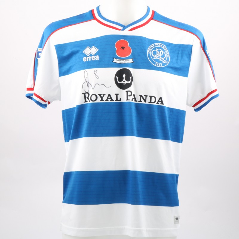 Jordan Cousins  Queens Park Rangers Worn and Signed Home Poppy Shirt 4d5c08314c46
