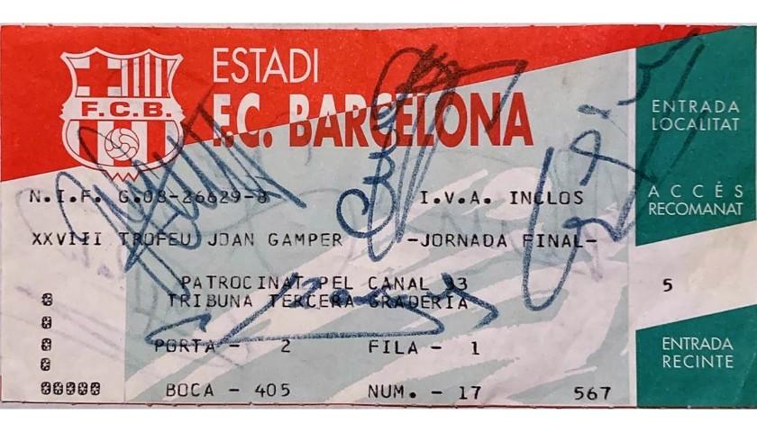Joan Gamper Trophy 1993 Ticket - Signed by Johan Cruijff